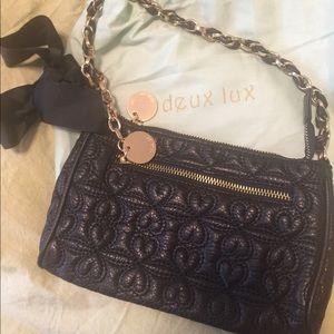 Deux Lux wristlet evening bag black
